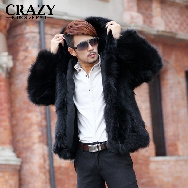 2019 New Male Men Thickening Faux Fox Fur Coats With A Hood Short Design Fake Leather Fur Overcoat