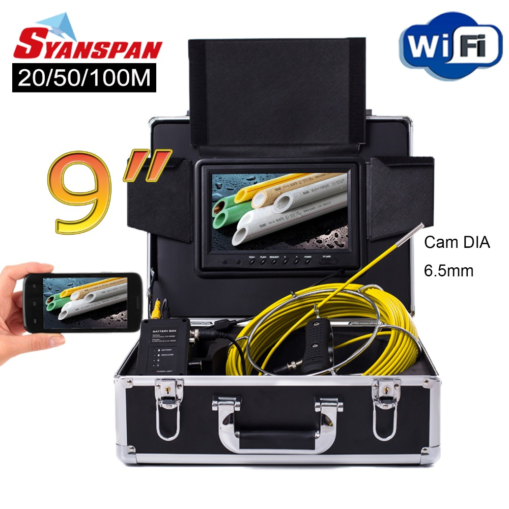 SYANSPAN 9 WiFi 20/50/100M Pipe Inspection Video Camera,Drain Sewer Pipeline Industrial Endoscope support Android/IOS 6.5mm Cam dhlfree wp71 50m sewer drain pipe inspection camera system 7 lcd video snake pipeline endoscope borescope underwater mini camera