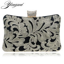 YINGMI Embroidery Vintage Women Evening Bags Chain Shoulder Diamonds Purse Small Day Clutch Wedding Party Dinner Handbags