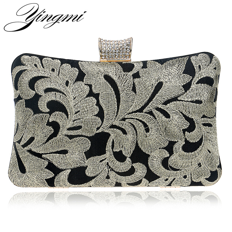 YINGMI Embroidery Vintage Women Evening Bags Chain Shoulder Diamonds Purse Small Day Clutch Wedding Party Dinner Handbags diamonds women evening bags chain shoulder purse handbags one side rhinestones evening clutch bags wedding party purse