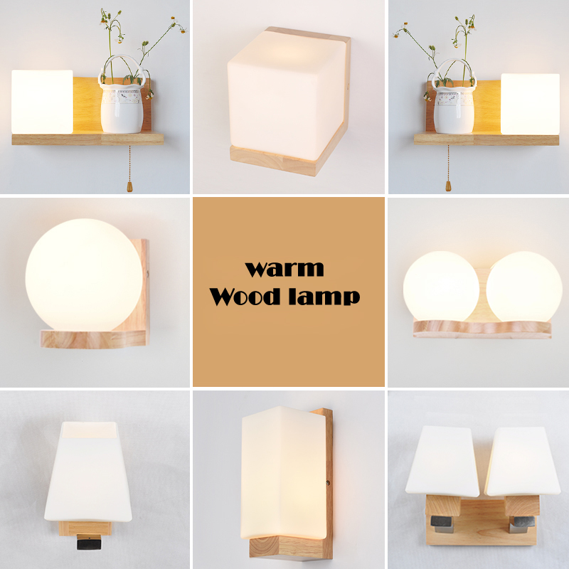 LED Wall Lamps Bed Room Bedside Wood Lights Modern Corridor Lamp Japanese Style Indoor Lighting With Led Bulbs WL06 стоимость