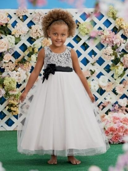 New Lovely Ball Gown Girl's Pageant Dresses Scoop Hand Made Flower Pleat Organza Flower Girl Dresses Formal Party Gowns