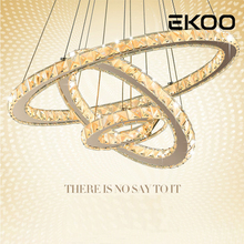 EKOO Rings Modern Chrome Pendant Lamp LED Hall Crystal Chandelier Pendent Lights Kitchen Light