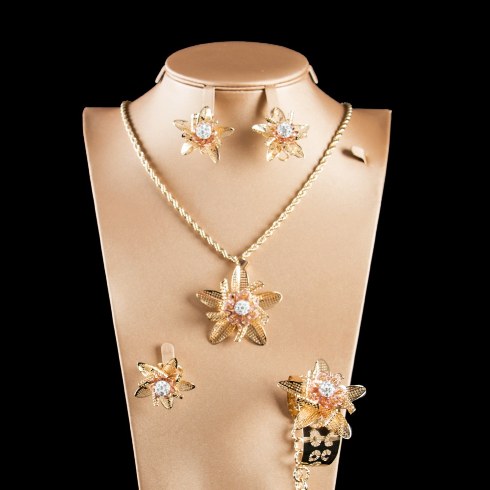 LAN PALACE gold color ladies copper alloy star snow jewellery set earrings necklace ring bracelet free shipping