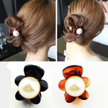 New Women big Pearl Hair Claw Fashion Crystal Rhinestone Vintage Girls Hairpin black brown Retro Clips Wedding Party Gifts