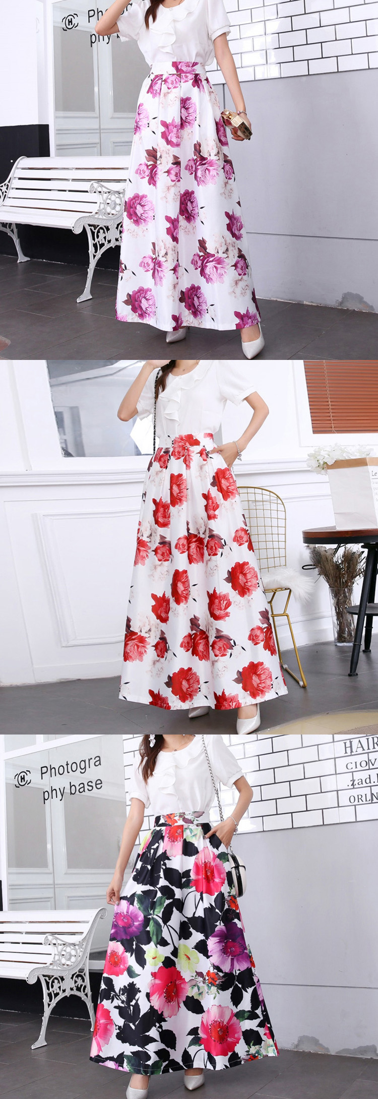 HTB1mK4PUrvpK1RjSZFqq6AXUVXaP - Plus size Maxi Skirt Summer Fashion Vintage High Street A-line High Waist Floral Polka Dot Long Skirts for Women Jupe Longa