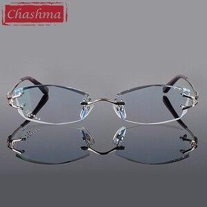 Image 2 - Брендовые очки Chashma, очки без оправы с алмазной отделкой, титановые модные женские очки