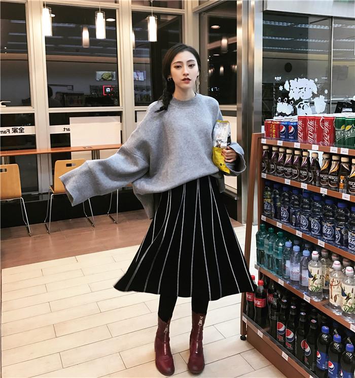 HTB1mK4SOVXXXXb.XFXXq6xXFXXX0 - FREE SHIPPING Womens Skirt Vintage  Line Striped Slim High Waist Knitted Long Black Grey JKP248