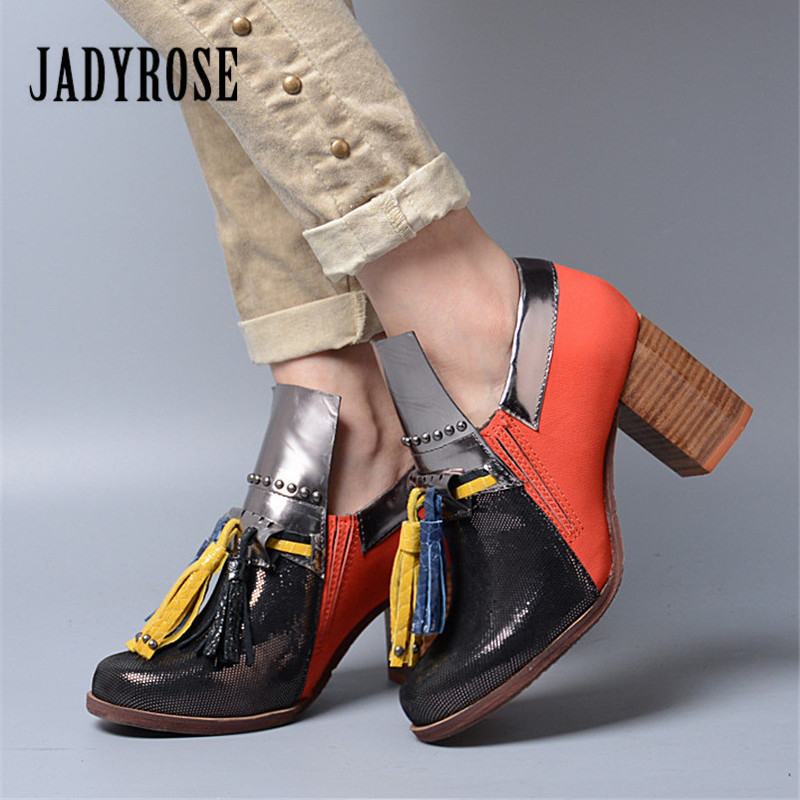 Jady Rose Patchwork Women Chunky High Heels Fringed Genuine Leather Slip On Ankle Boots Women Platform Pumps Valentine Shoes jady rose suede women ankle boots fringed lace up high heel shoes woman rivets studded platform pumps valentine shoes