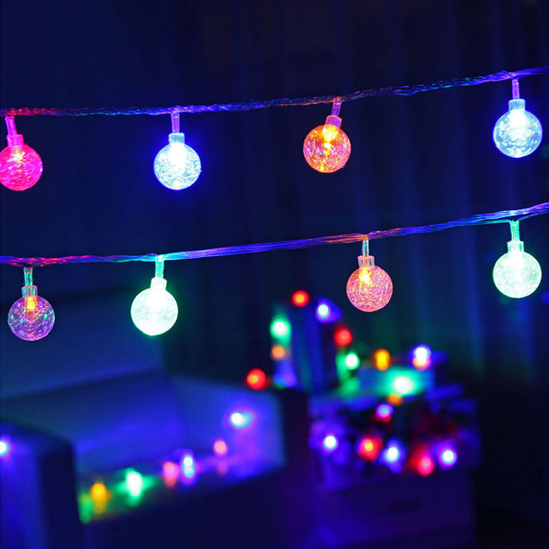 6M Solar LED Bubble Ball String Lamp Christmas Lights Outdoor Navidad Garland For New Year Party Garden Wedding Decoration Light