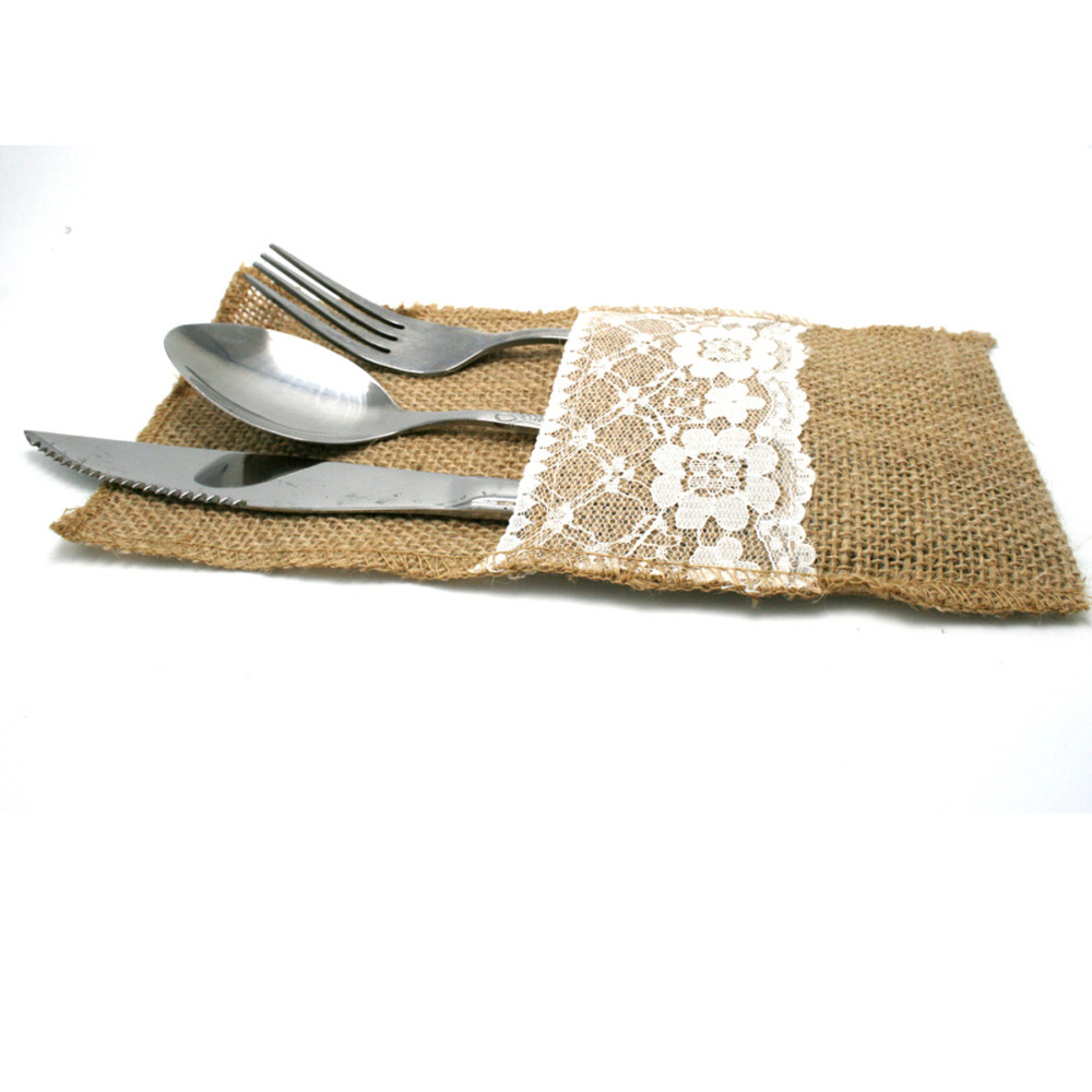 ᗑ】5Pieces 4x8Hessian Burlap Lace Wedding Tableware Pouch Cutlery ...