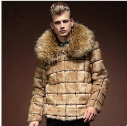 S/3Xl Men Winter Autumn Faux Fur Jackets Casual Fur Collar Outwears Male Plus Size Fake Overcoats Man Imitation Fur Clothes K539