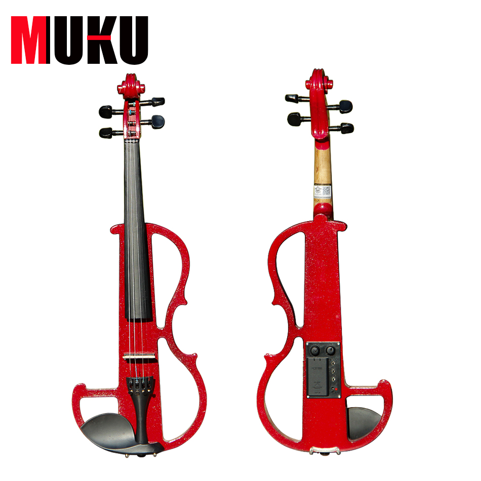 Handmade electric violin with power lines and violin parts Dark red 4/4 violin Send violin Hard case transparent 4 4 violin led light send violin hard case electric violin with colorful power lines and violin parts for lover