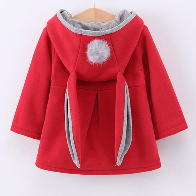 2017 New Autumn Winter Girl Hooded Jacket Kids Cute Rabbit Ears Hoodies Cotton Children Outerwear&Coats Girls Waistcoat Red Pink