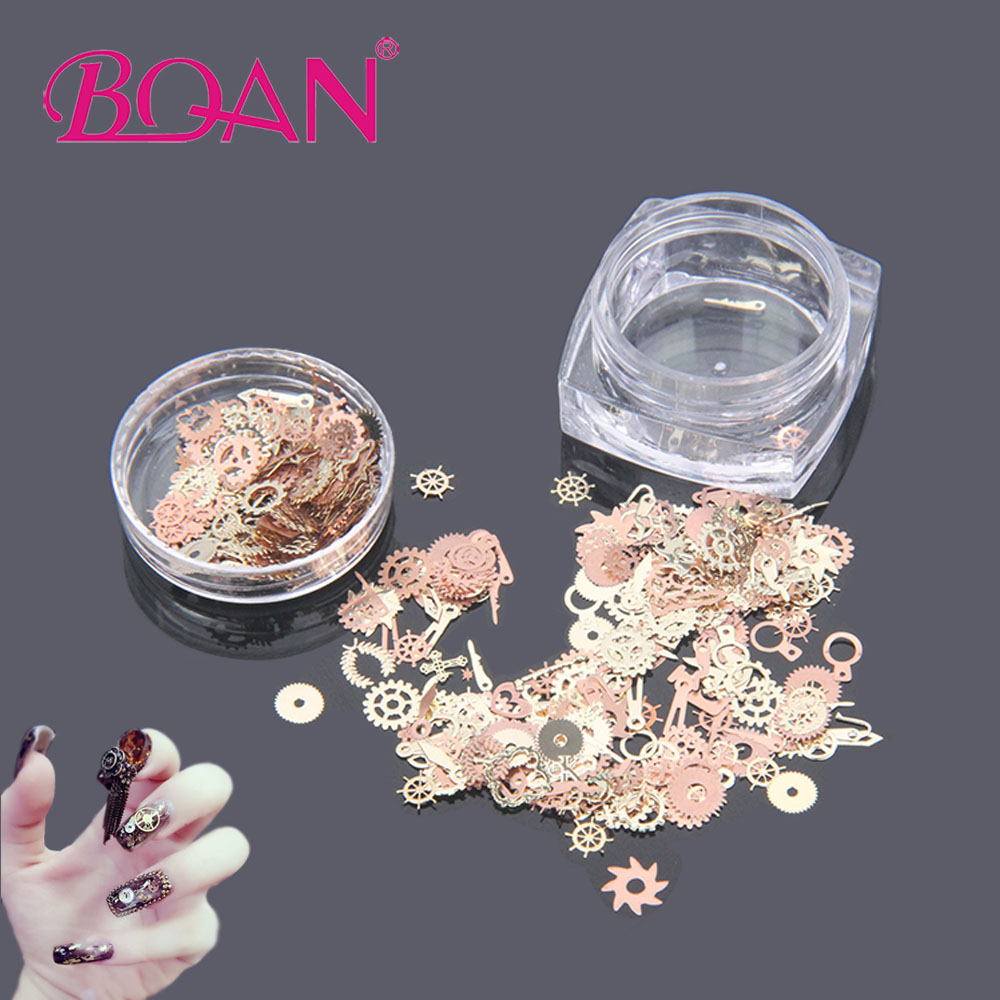 BQAN 1 Box Ultra-Thin Nail Studs 3D Nail Art Decoration Metal Gold Bronze Time Wheel Steampunk Style Manicure DIY Accessories rose gold silver black nail beads caviar studs multi size diy 3d nail art uv gel lacquer decoration in wheel manicure accessorie