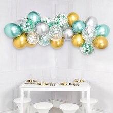 35pcs Balloon Garland Arch Kit 12inch Macaron Mint Green Gold Silver Metallic Balloons Birthday Wedding Wild One Party Supplies