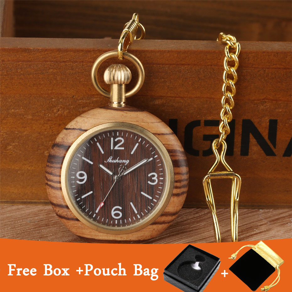 Open Face Brown Wood Quartz Pocket Watch Retro Pendant Clock Golden Steampunk Chain Luxury Pocket Watches Gifts With Box Bag