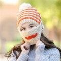 2016 New Mustache Women Winter Warm Hat with Mask Lady Knit Cap