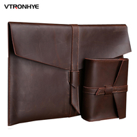 VTRONHYE 2017 New Fashion Genuine Leather Sleeve Case For Mac Book Air 13 11 Inch Luxury