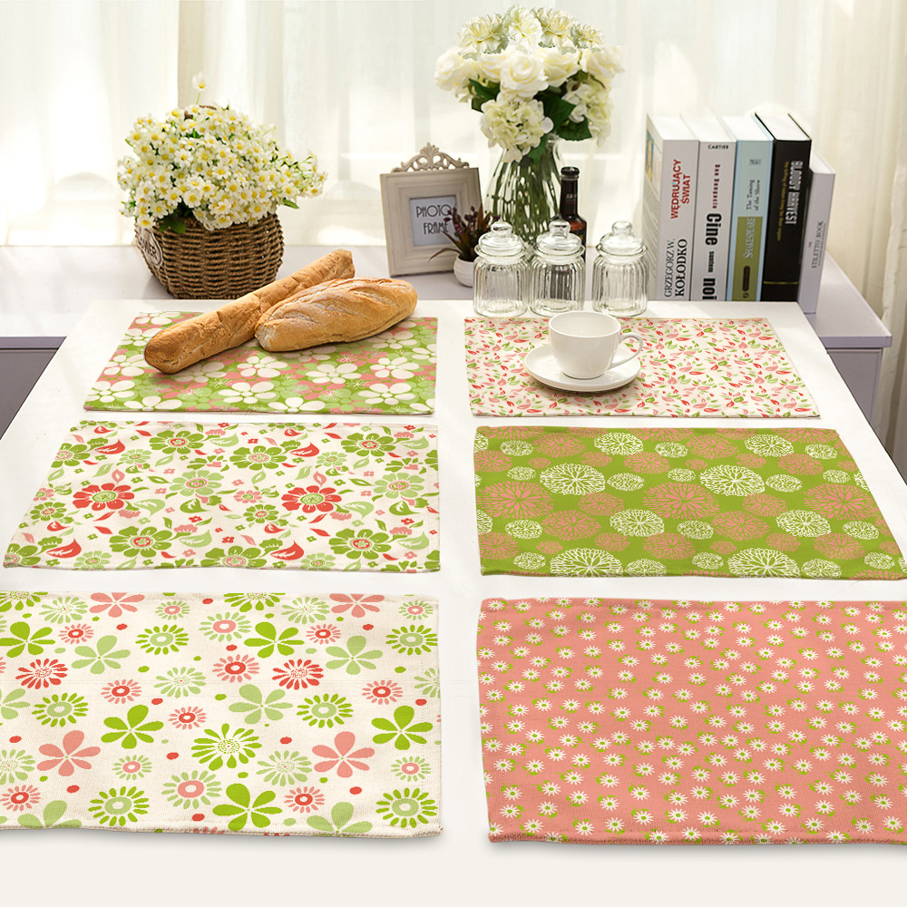 CAMMITEVER Floral Flowers Dining Table Placemat Kitchen Tool Tableware Pad Coaster Coffee Tea Place Mat Europe Style