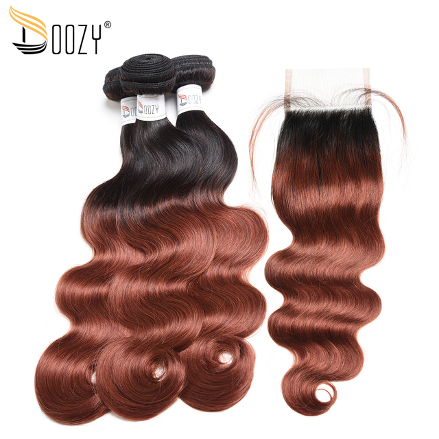 Doozy Ombre 1b 33 Dark Auburn Brown Remy Human Hair Extensions Body Wave Brazilian Human Hair Weave 3 Bundles With Lace Closure In 3 4 Bundles With