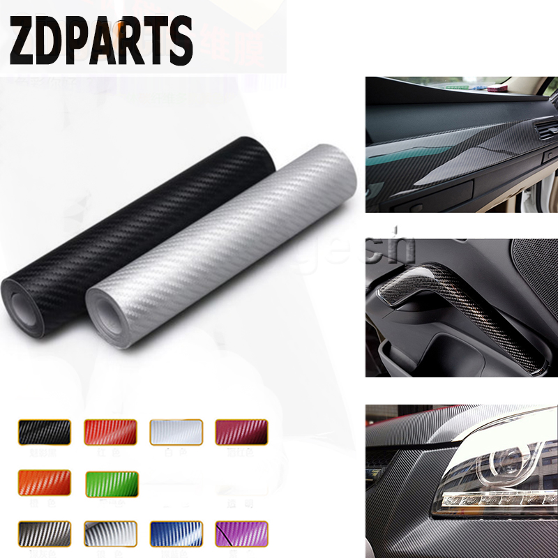 ZDPARTS 3D 30*127CM Car Styling Carbon Fiber Sticker 10Color For Volkswagen VW Passat B6 B5 Golf 4 <font><b>5</b></font> 7 6 Fiat 500 Suzuki Grand image