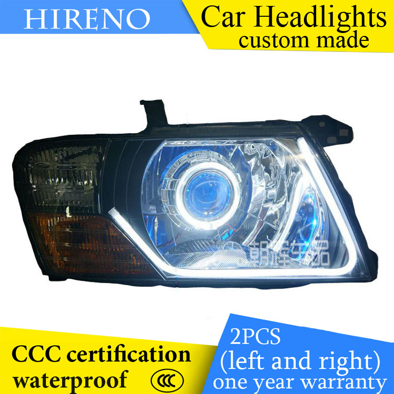 Hireno custom Modified Headlamp for Mitsubishi Pajero V73 V77 2001-03 Headlight Assembly Angel Lens Beam HID Xenon 2 pcs hireno headlamp for cadillac xt5 2016 2018 headlight headlight assembly led drl angel lens double beam hid xenon 2pcs