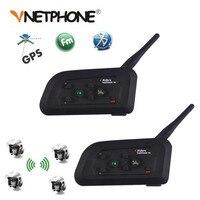 2PCS Vnetphone V4 1200M 4 Riders Helmet Intercom Headset Intercomunicador Motorcycle Bluetooth Wireless Interphone With FM