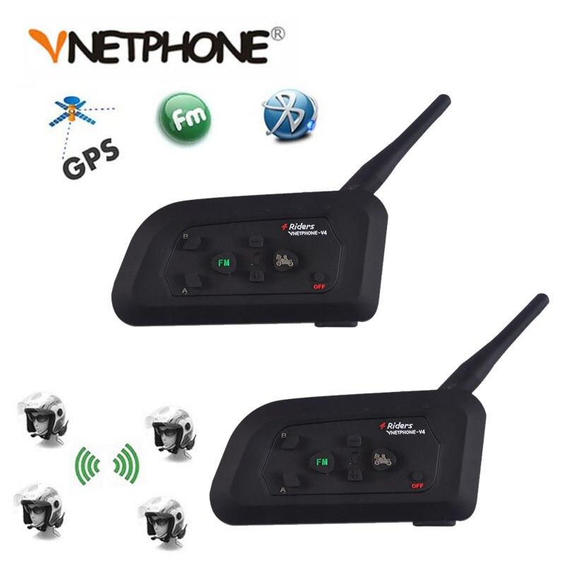 2PCS Vnetphone V4 1200M 4 Riders Helmet Intercom Headset Intercomunicador Motorcycle Bluetooth Wireless Interphone With FM Radio