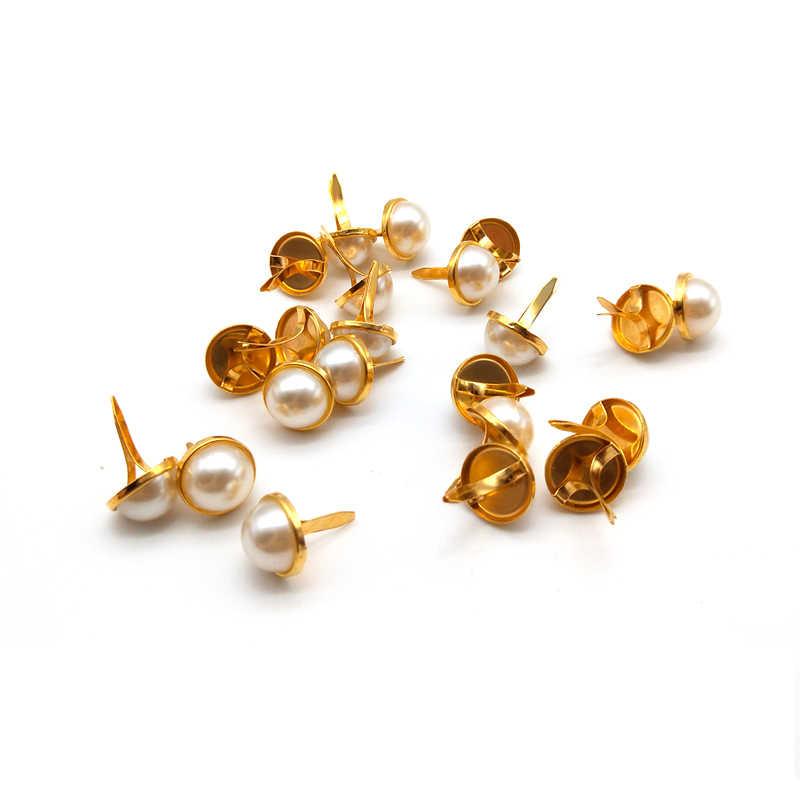 WISHMETYOU 50 шт. 12,5 мм золотые жемчужные бусины Diy Фотоальбом рамка Brads Аксессуары Украшение для скрапбукинга Chram Brads