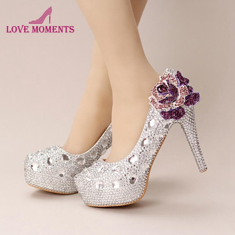 Silver Crystal Wedding Shoes Handmade Small Rhinestone Platform Bridal Shoes with Purple Crystal Rose Party Prom Pumps Plus Size large size 11 gorgeous purple crystal platform heels pumps women wedding party dress shoes 5 inches wedding bouquet prom shoes