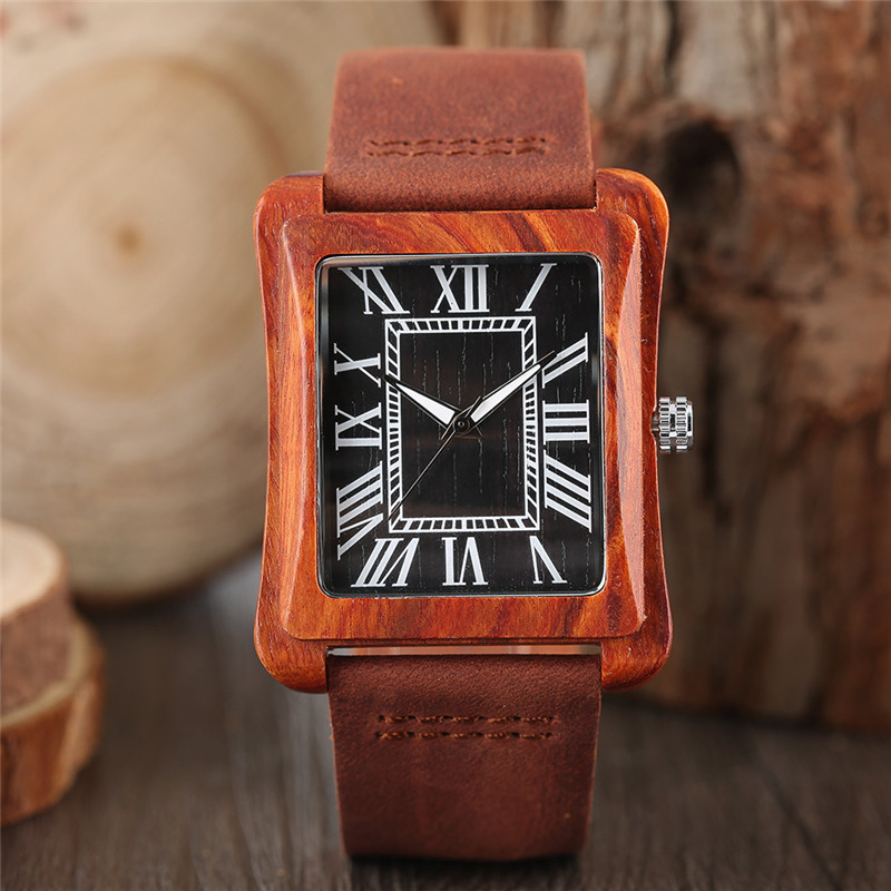 High Quality Fashion Men Quartz Wristwatch Hand-made Wooden Design Rectangle Case Roman Number Dial Genuine Leather Band Gift