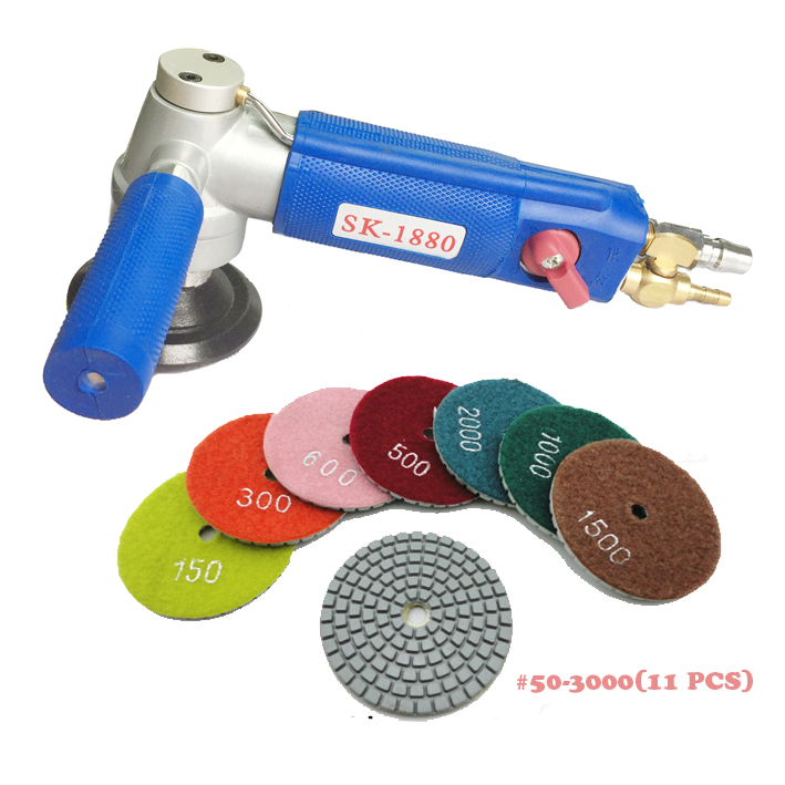 4500rpm Professional Pneumatic Water Sander Air Wet Sander Polisher Angle Grinder variable speed with 11 units wet polishing pad