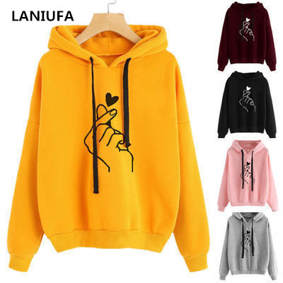 Harajuku Casual Women Sweatshirt Hoody Ladies Oversize <font><b>K</b></font> <font><b>Pop</b></font> Yellow Pink Love Heart Finger Hood Casual Hoodies Sweatshirt Women image