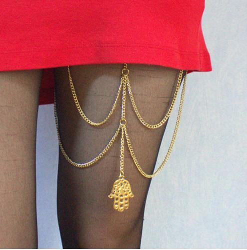 Gond Tone Antique Bronze Palm Pendant Summer Style Chain Ankle Bracelet Anklet Leg Chain CA021