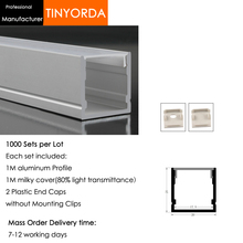Tinyorda 1000 шт.(длина 1 м) светодиодный профиль Alu светодиодный профиль канала для 17 мм Светодиодные полосы света 1 м светодиодный профиль Alu профильный кабельный канал