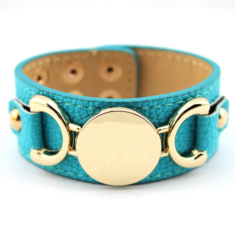 Wholesale Silver & Gold Blank Monogram Leather Wrap Bracelets for Women Fashion Snap Jewelry 20