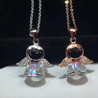 Brand Charm Austria Crystal Sterling Silver 925 Original Pendant Necklaces Statement Colar Women Jewelry Lovely Angel