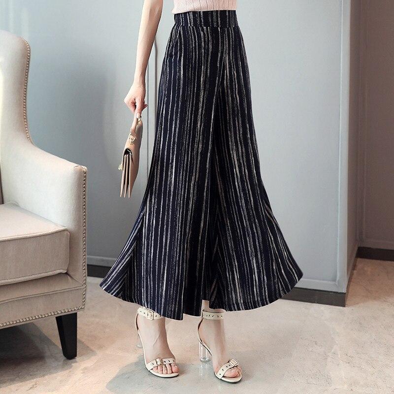 Plus Size 4XL Women   Wide     Leg     Pants   Women Streetwear High Waist Skirt   Pants   2019 Summer Trousers for Women Korean Flare   Pants