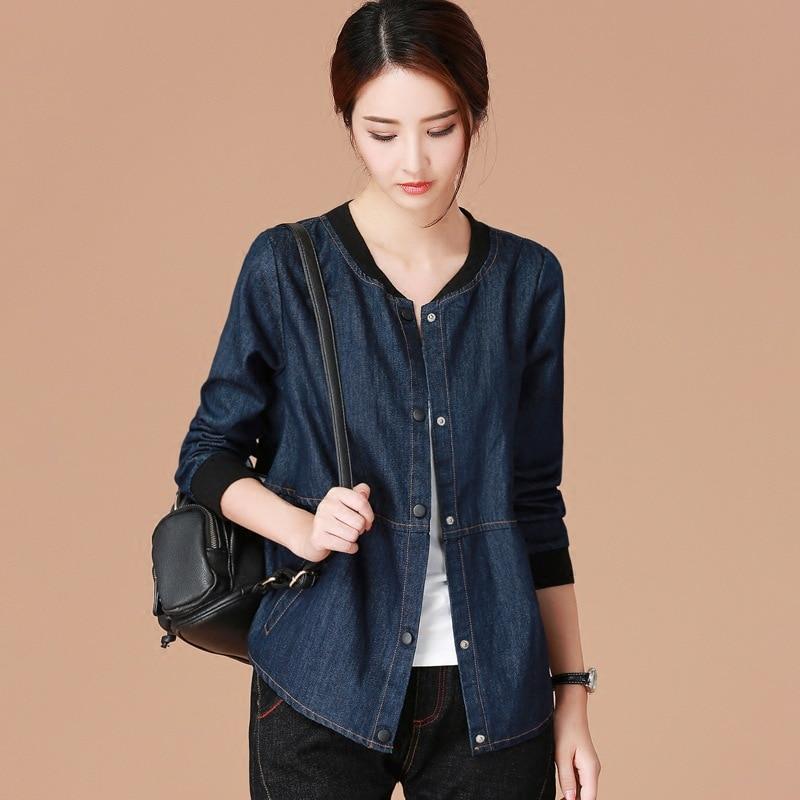 Denim Female Baseball Blue New Short Loose Uniform Women Jacket Cowboy Autumn Casual 2019 Fashion Clothing Tops qwrwC1