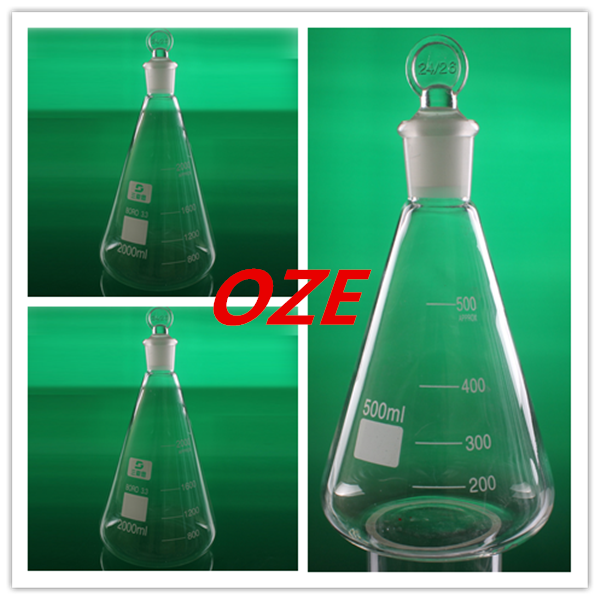 1PCS 50ML/100ML/250ML/500ML/1000ML/2000ML Borosilicate Glass Conical Erlenmeyer Flask with Stopper For Laboratory 4pcs set 100ml 250ml 500 1000ml plastic erlenmeyer flask conical flask bottle for laboratory tests