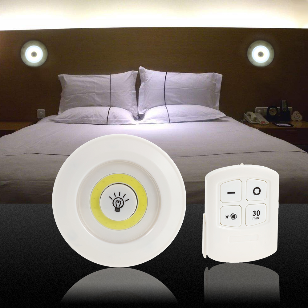 Modern 2 Switch Modes LED Bedside Wall Lamp Remote Control Portable Night Light 2 Brightness Adjustable Indoor Lighting Lamp