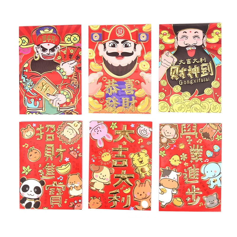 6pcs/Set Tradition Hongbao New Year Red Lucky Money Bag Chinese Red Animal Envelope Fill In MoneyEnvelope Gift
