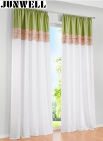 100 Polyester Embroidery Curtain Home Wave European Living Room Balcony Voile Panel 1PC Tab Top Eyelet