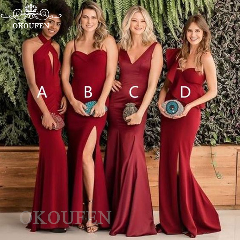 Wholesale Pirce Red 4 Style Mermaid   Bridesmaid     Dresses   For Women 2019 Side Split Cheap Under 100 Long Party   Dress   Maid Of Honor