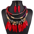 Fashion 2017 New Vintage Ethnic Rope Chain  Pendant Maxi Necklace Women Statement Feather Collar Vintage Accessories Necklace