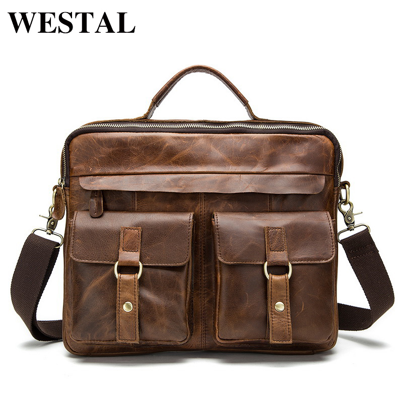 WESTAL Men Bag Crossbody Bags Casual <font><b>Totes</b></font> Leather Handbags Messenger Laptop Bag Genuine Leather Shoulder Bags Men Briefcases