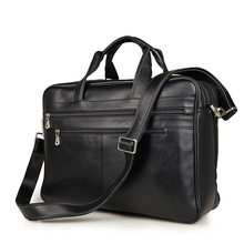 J.M.D Genuine Cow Leather Mens Black Briefcase Laptop Bag Travel 7319A