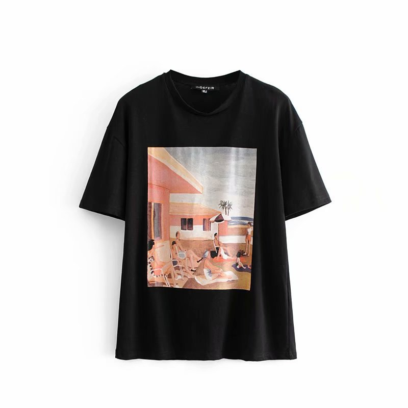 HH33-1850 European and American Fashion Wind Printed T-shirts