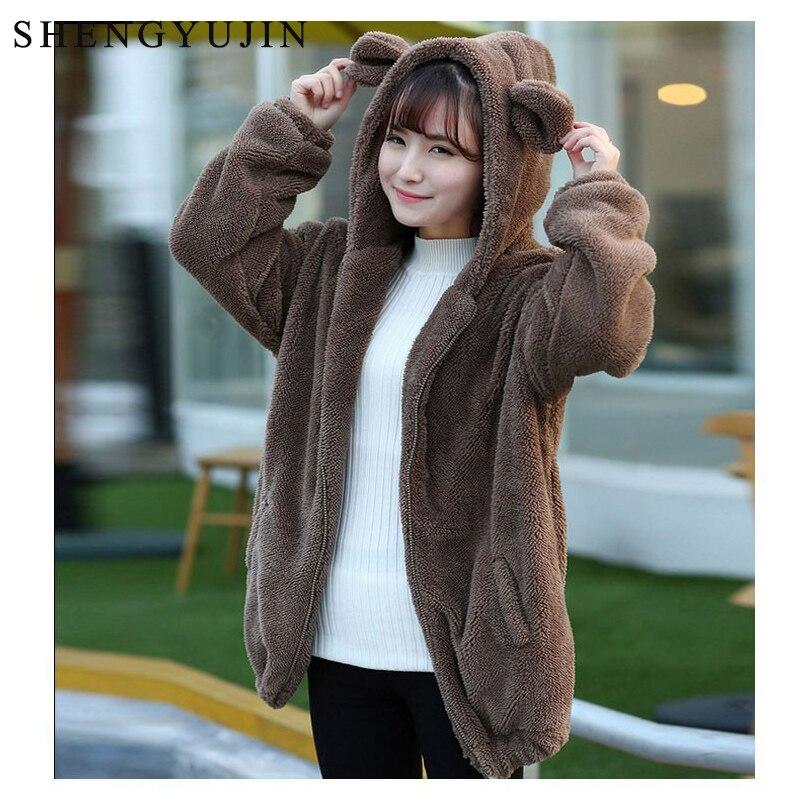 SHENGYUJIN 2019 mignon Sweatshirts sweat à capuche pour femme fermeture éclair fille printemps lâche moelleux ours oreille capuche veste à capuche chaud manteau d'extérieur